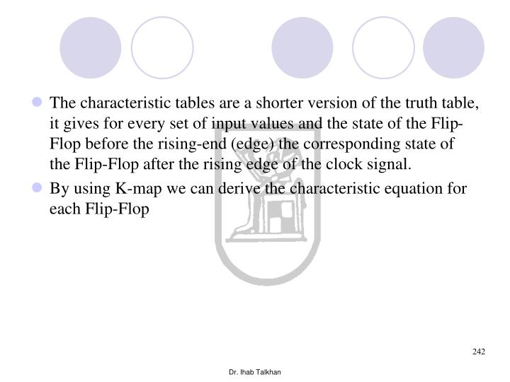 The characteristic tables are a shorter version of the truth table, it gives for every set of input values and the state of the Flip-Flop before the rising-end (edge) the corresponding state of the Flip-Flop after the rising edge of the clock signal.