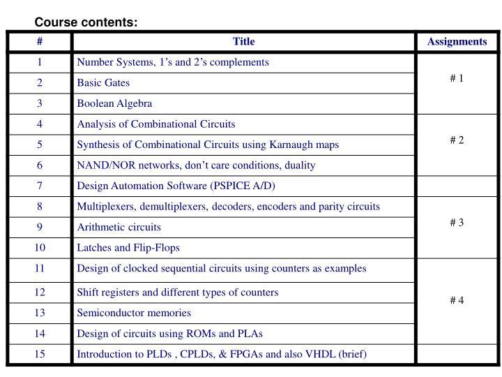 Course contents: