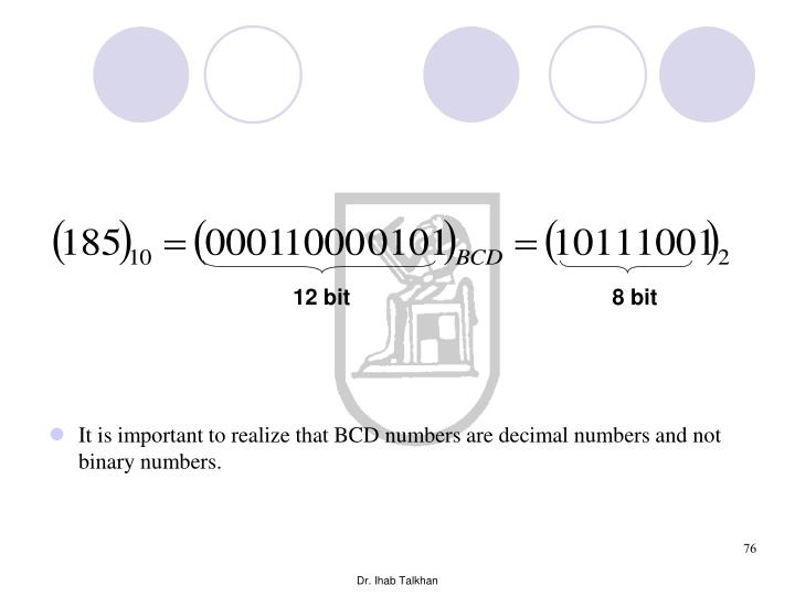 It is important to realize that BCD numbers are decimal numbers and not binary numbers.