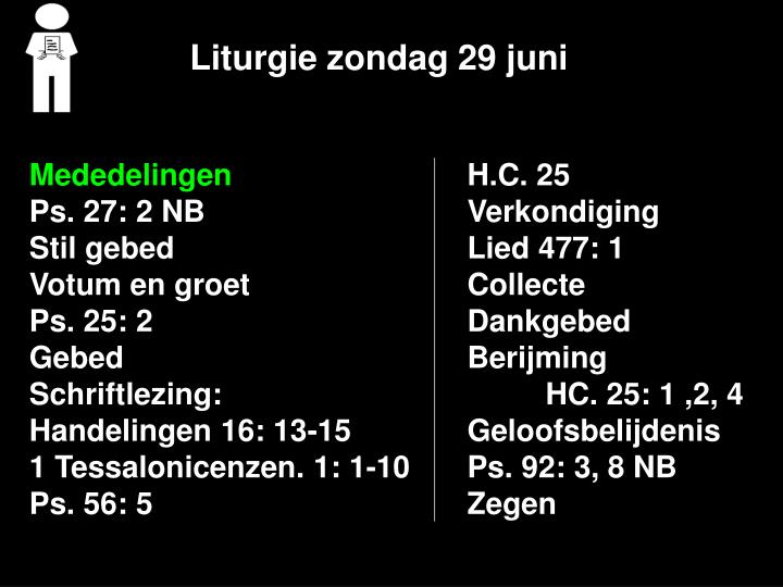 Liturgie zondag 29 juni1