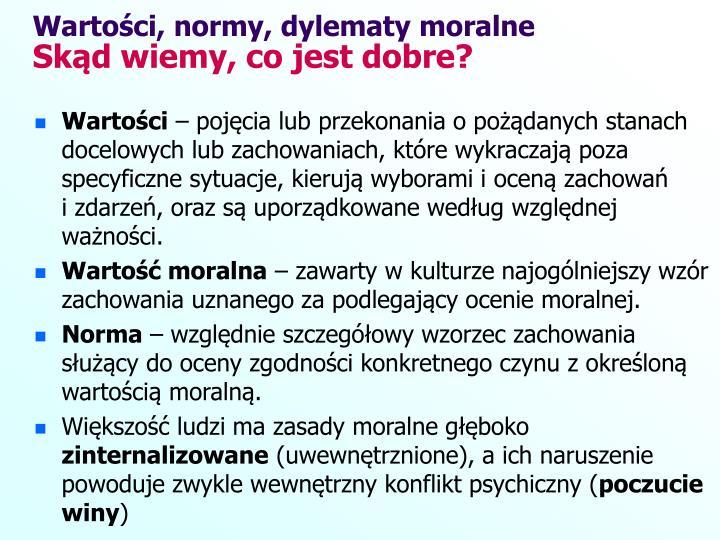 Wartości, normy, dylematy moralne