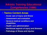 athletic training educational competencies 1999