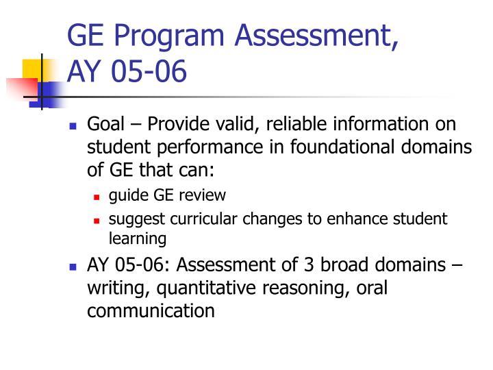 ge program assessment ay 05 06