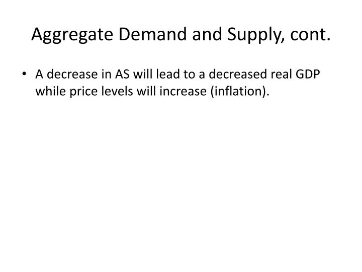 Aggregate Demand and Supply, cont.