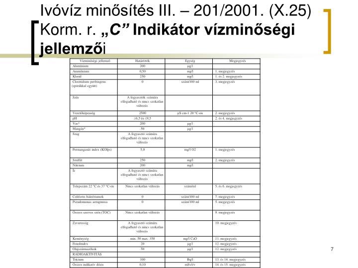 Ivóvíz minősítés III. – 201/2001. (X.25) Korm. r.
