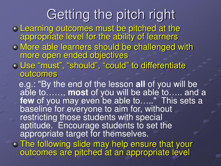 Getting the pitch right