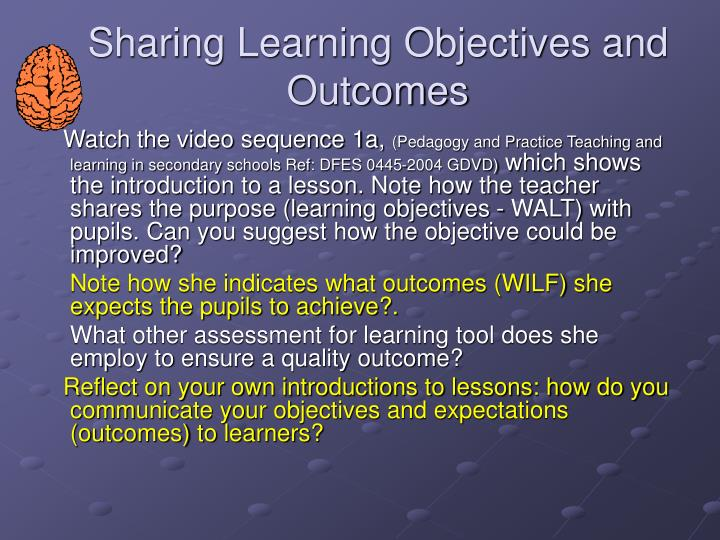 Sharing Learning Objectives and Outcomes