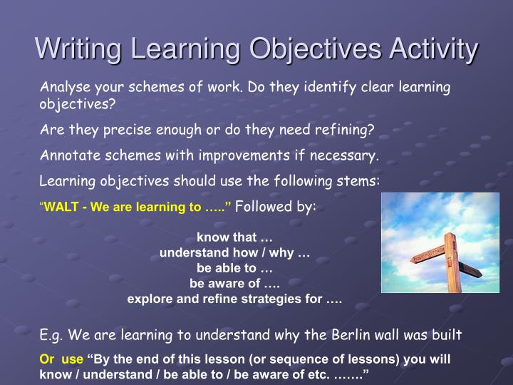 Writing Learning Objectives Activity