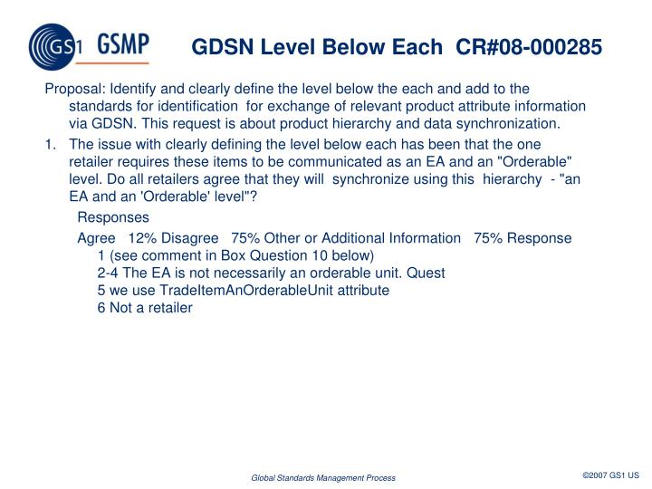 GDSNLevel Below EachCR#08-000285