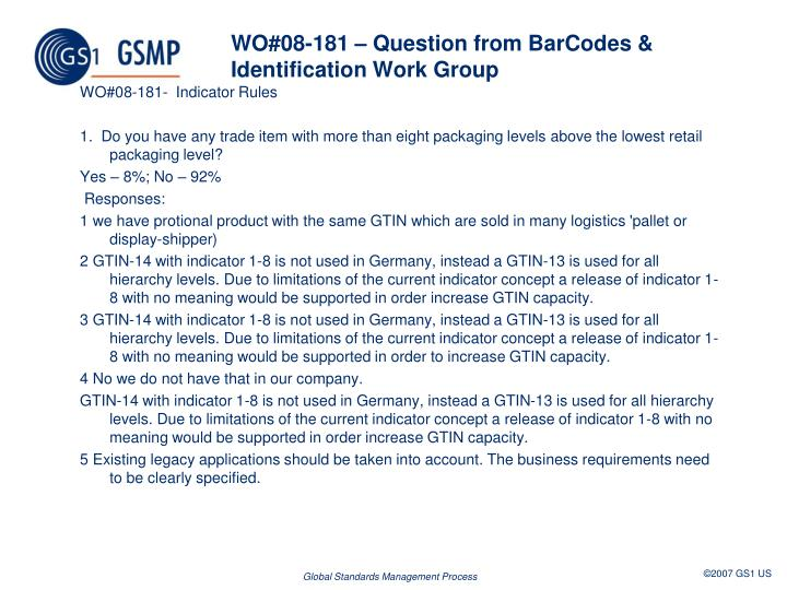 WO#08-181 – Question from BarCodes & Identification Work Group