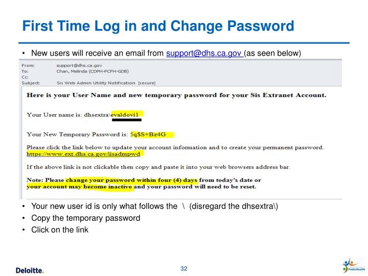 First Time Log in and Change Password