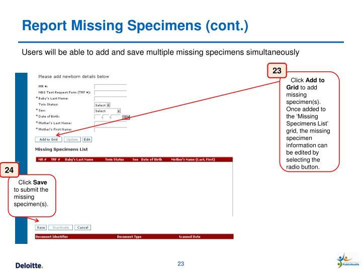 Report Missing Specimens (cont.)