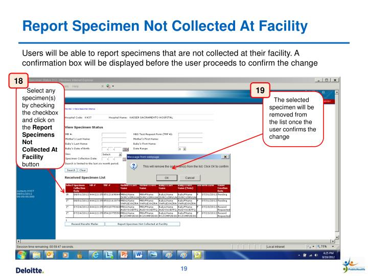 Report Specimen Not Collected At Facility