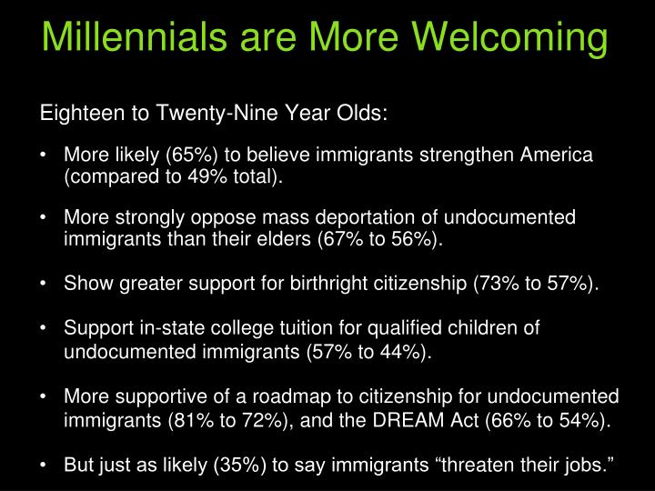 Millennials are More Welcoming