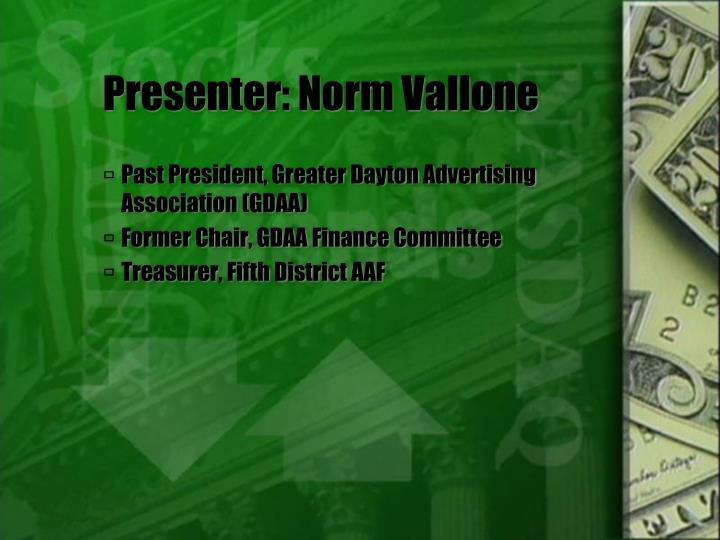 Presenter norm vallone