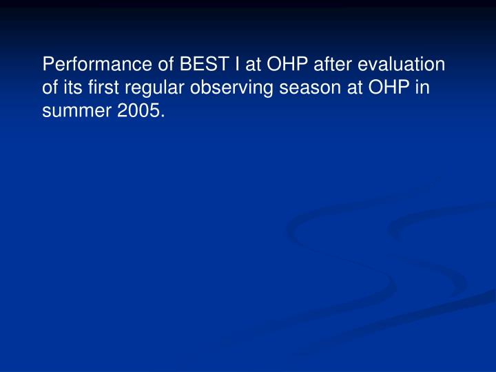 Performance of BEST I at OHP after evaluation of its first regular observing season at OHP in summer 2005.
