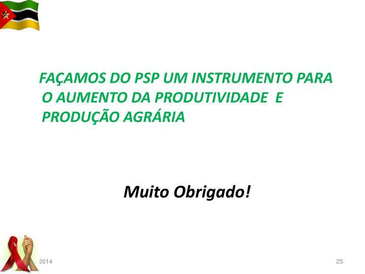FAÇAMOS DO PSP UM INSTRUMENTO PARA O AUMENTO DA PRODUTIVIDADE  E PRODUÇÃO AGRÁRIA