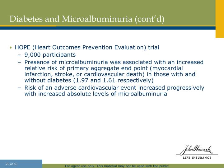Diabetes and Microalbuminuria (cont'd)