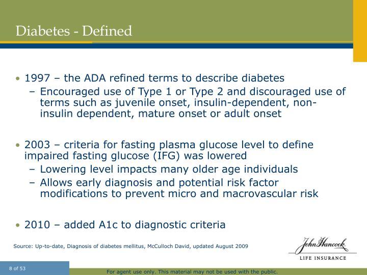 Diabetes - Defined