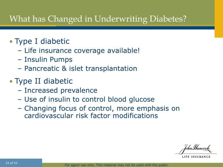 What has Changed in Underwriting Diabetes?
