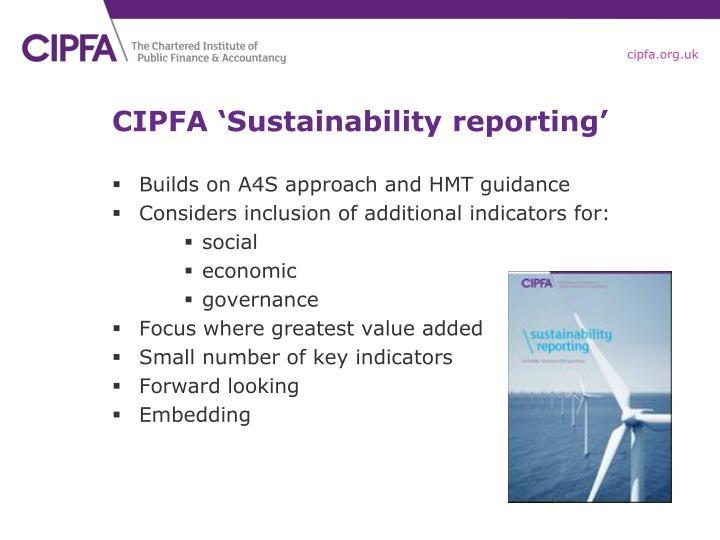 CIPFA 'Sustainability reporting'