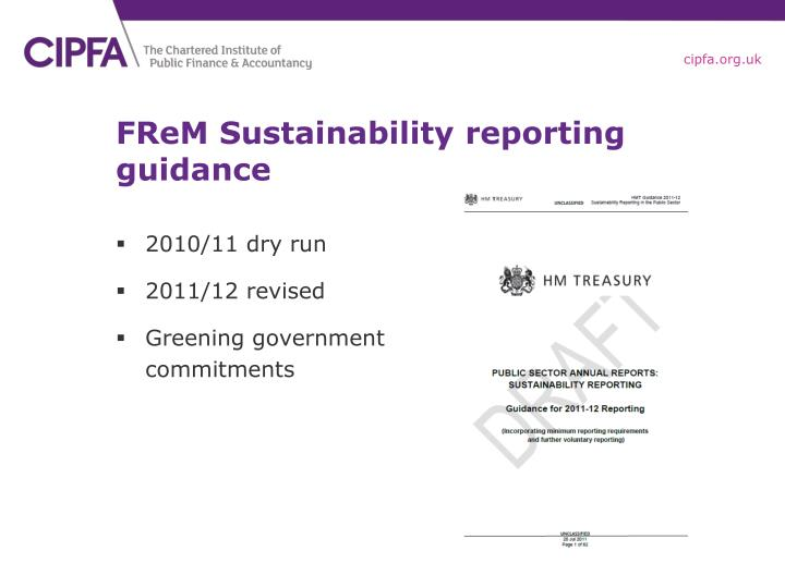 FReM Sustainability reporting guidance