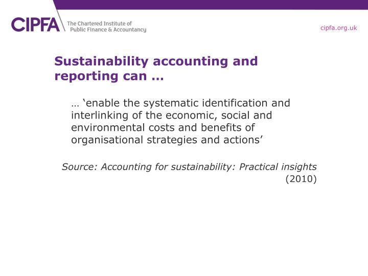 Sustainability accounting and reporting can