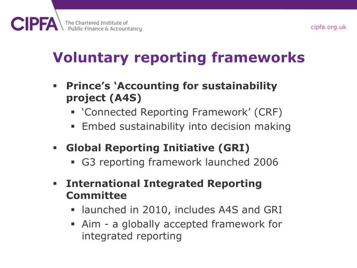 Voluntary reporting frameworks