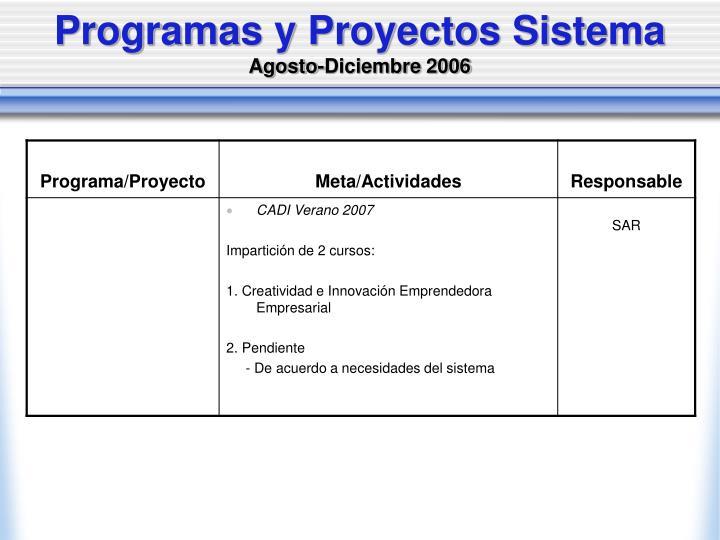 Programas y Proyectos Sistema