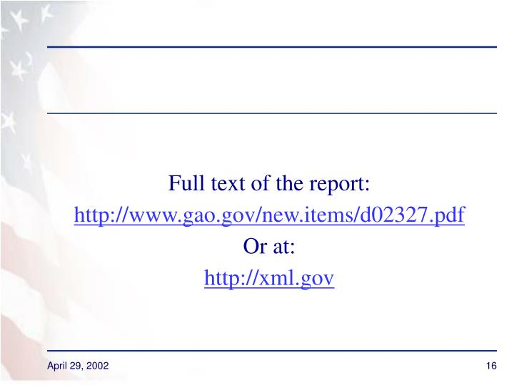 Full text of the report: