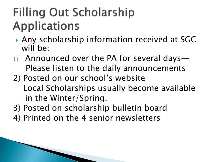 Filling Out Scholarship Applications