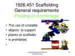 1926 451 scaffolding general requirements footing or anchorage1
