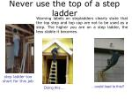 never use the top of a step ladder