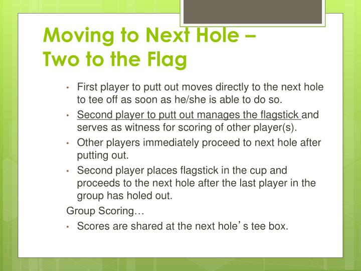 Moving to Next Hole – Two to the Flag