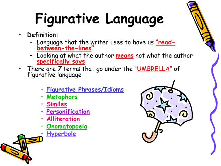figurative language project Figurative language project rubric your assignment is to make a book of mini-posters highlighting four of your six assigned pieces of figurative language.