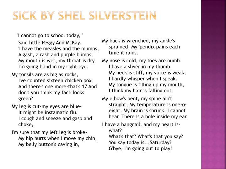 sick by shel silverstein n.