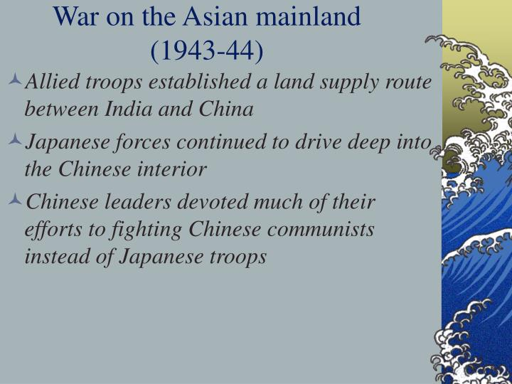 War on the Asian mainland