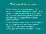 critique of the article