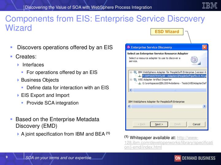 Components from EIS: Enterprise Service Discovery Wizard