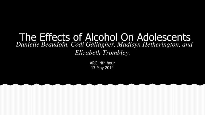 the effects of alcohol on adolescents n.