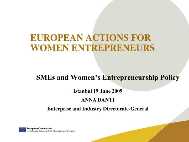 european actions for women entrepreneurs n.