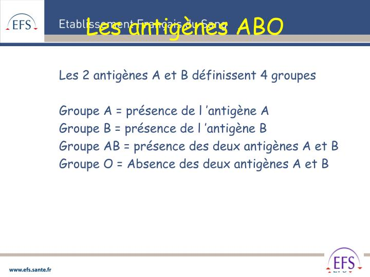 Les antigènes ABO