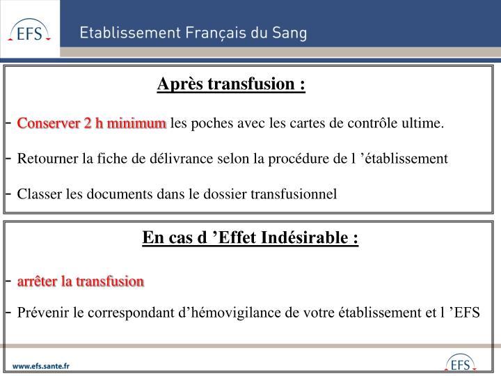 Après transfusion :