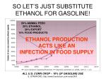 so let s just substitute ethanol for gasoline