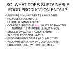 so what does sustainable food production entail