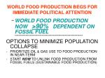 world food production begs for immediate political attention