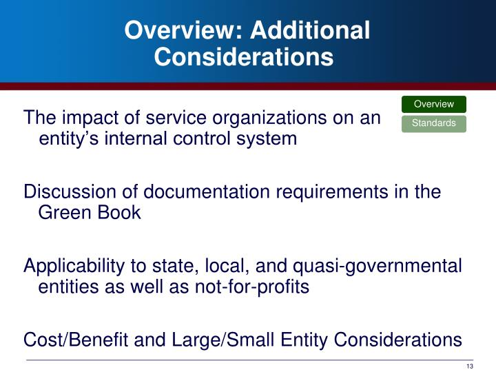 Overview: Additional Considerations
