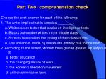 part two comprehension check