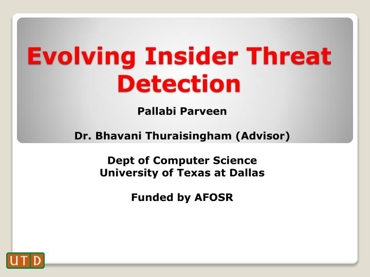 evolving insider threat detection n.