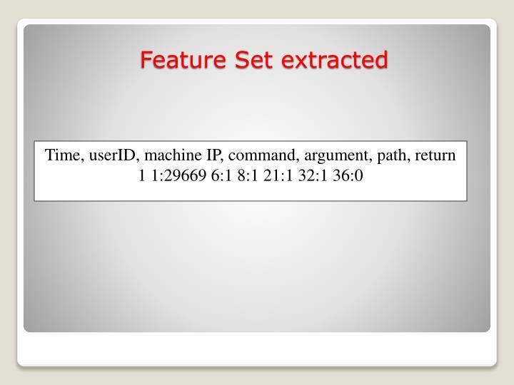 Time, userID, machine IP, command, argument, path, return